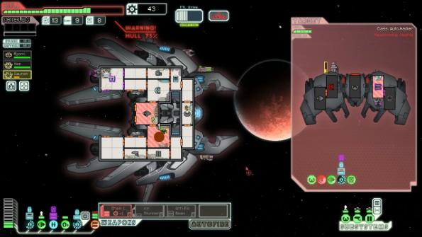 Das Lanius-Schiff unter Beschuß. Man beachte die Räume mit Lanius-Crew, die keinen Sauerstoff benötigen!